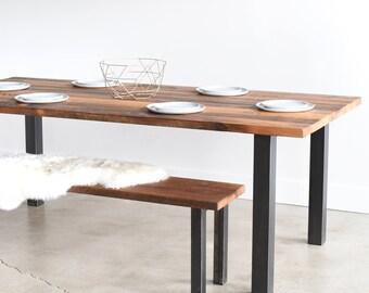 Industrial Reclaimed Wood Dining Table / Post Metal Legs