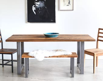 Reclaimed Wood Dining Table / H-Shaped Metal Legs