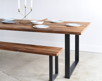 Industrial Modern Kitchen Table / U-Shaped Metal Legs / Made From Reclaimed Wood
