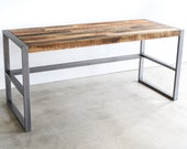 Reclaimed Wood Desk With Metal Frame Base / Industrial Reclaimed Desk