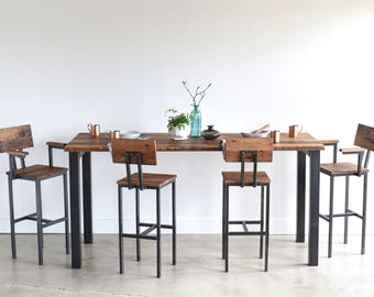 Reclaimed Wood Pub Table with Industrial Post Metal Base