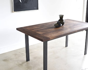 Industrial Kitchen Table with Extension Leaf / Reclaimed Wood Dining Table