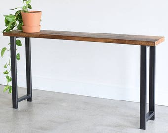 """Industrial Console Table / Reclaimed Wood Entryway Table with H-Shaped Metal Legs / 12"""" Depth"""