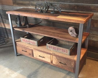 Home Styles 5540-07 Paris Corner TV Stand Walnut Finish Reclaimed Wood Media Console &