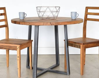 Reclaimed Wood Dining Table / Round Kitchen Table / Industrial Metal Criss Cross Base
