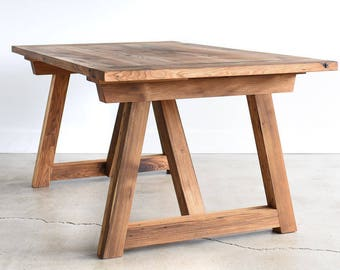 Reclaimed Trestle Dining Table / Shaker Kitchen Table