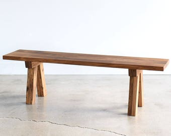 Reclaimed Wood Bench / Trestle Timber Base / Dining Bench / Entryway Bench