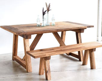 Trestle Dining Table made from Reclaimed Wood / Shaker Kitchen Table