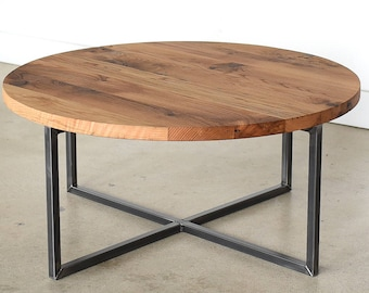 More Colors. Round Coffee Table / Reclaimed Wood + Metal ...