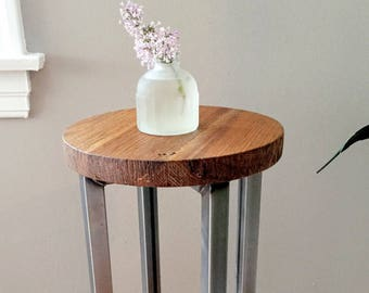 Round Side/End Table With Reclaimed Wood & Industrial Steel Base
