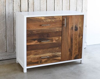 White + Reclaimed Wood Cabinet, Small Buffet, Entryway Storage