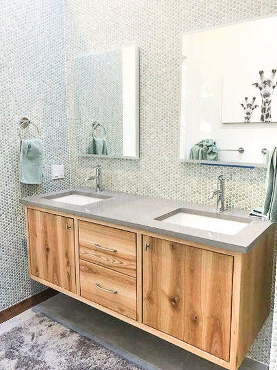 Floating Bathroom Vanity Cabinet Made From Reclaimed Wood Etsy