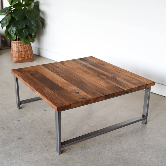 Square Reclaimed Wood Coffee Table Industrial H Shaped Steel Legs