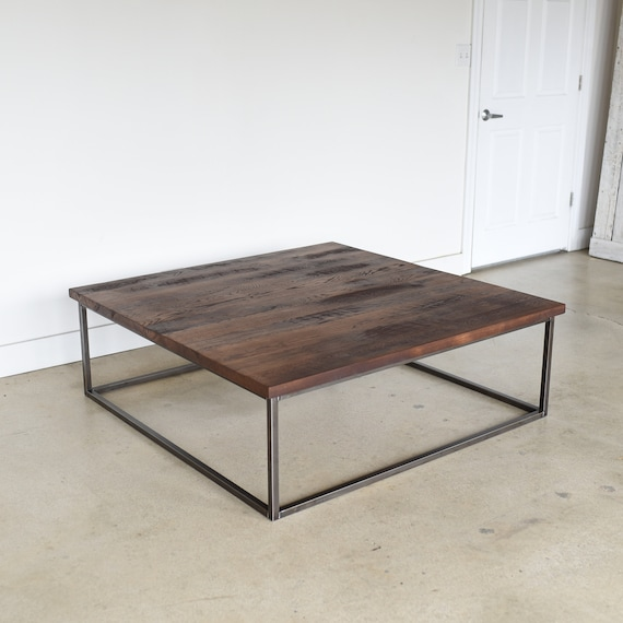 40 Metal Square Coffee Tables: Square Reclaimed Wood Coffee Table / Steel Box Frame