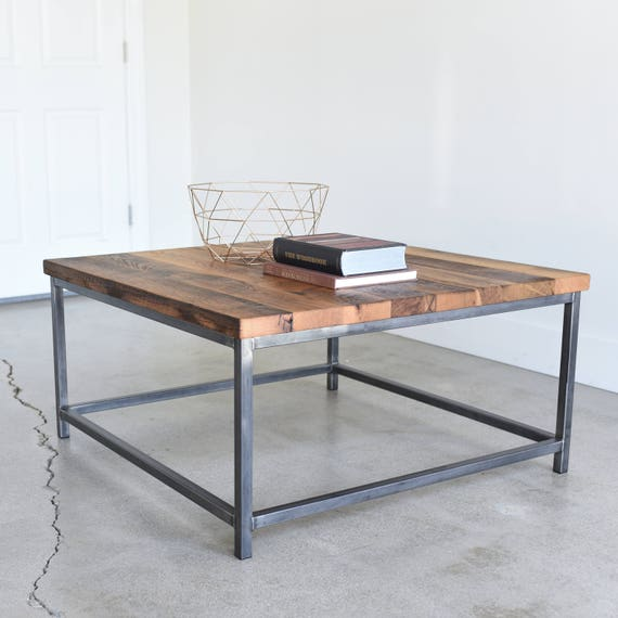 Industrial Square Coffee Table Rustic Reclaimed Wood And Etsy