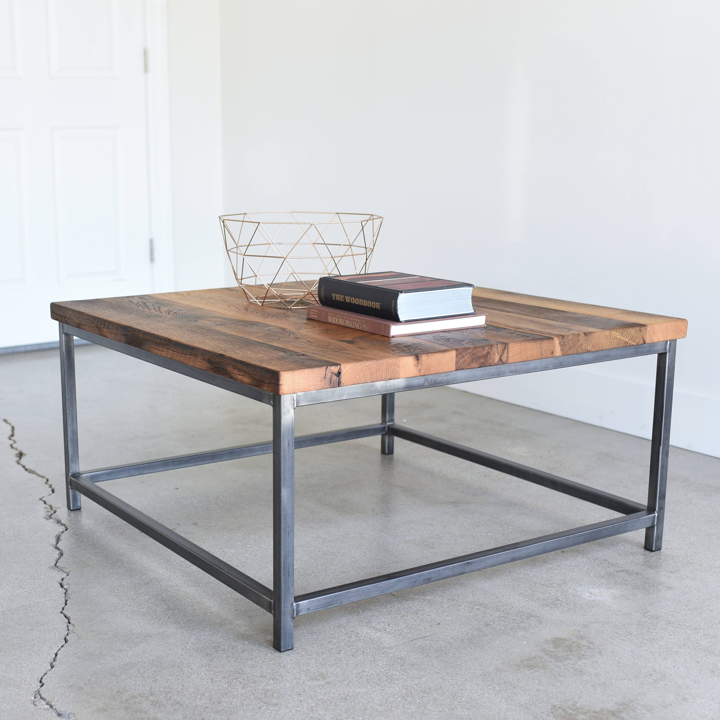 Industrial Square Coffee Table Rustic Reclaimed Wood And