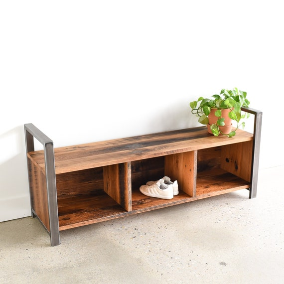 Pleasant Entryway Storage Bench Rustic Reclaimed Wood And Steel Leg Bench With Cubby Storage Ncnpc Chair Design For Home Ncnpcorg