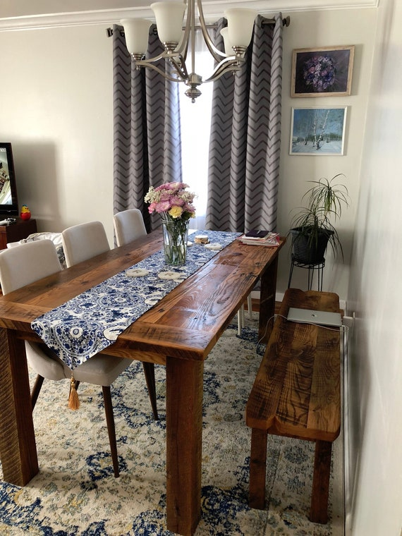 Rustic Farmhouse Table / Reclaimed Wood Kitchen Table / Barn Wood Dining  Table - Textured Finish