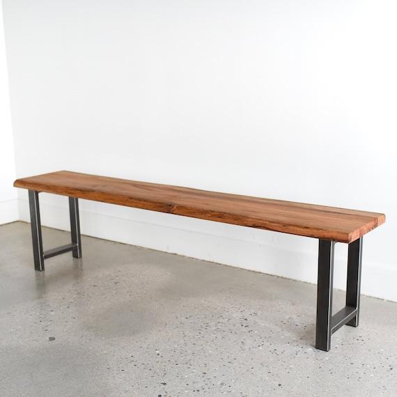 Pleasant Live Edge Bench Made From Reclaimed Wood H Shaped Steel Legs Creativecarmelina Interior Chair Design Creativecarmelinacom