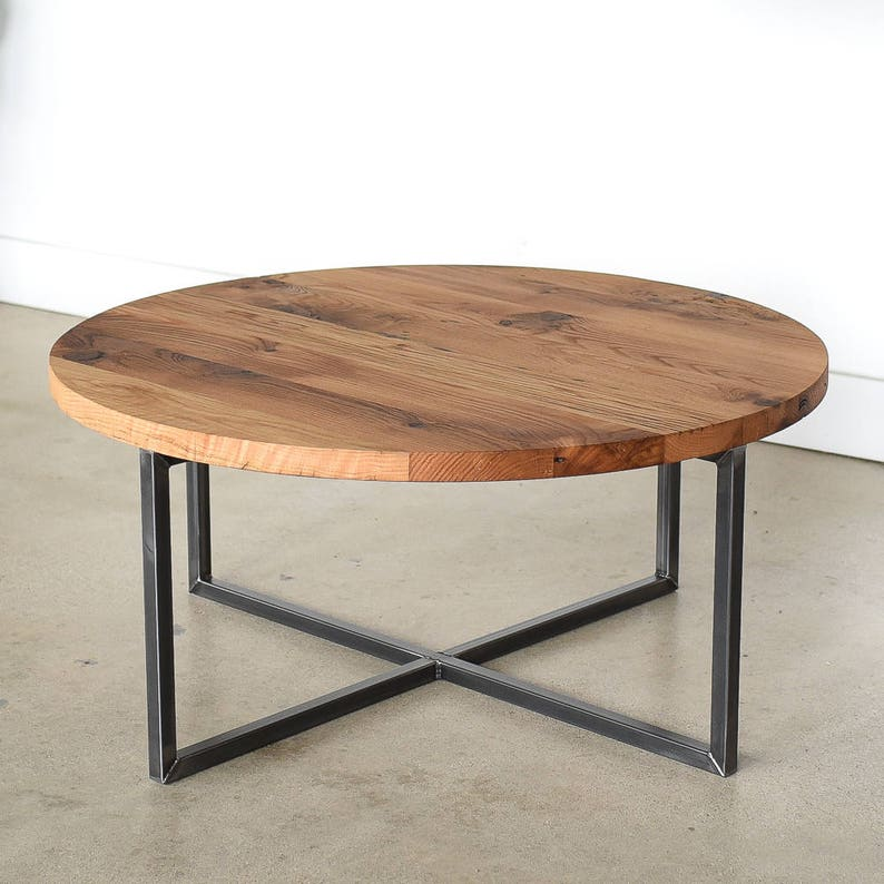 Round Coffee Table Reclaimed Wood Metal Base Coffee Table Etsy