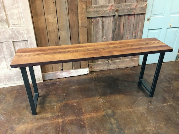 Reclaimed Wood Console Table Industrial Entryway Table Barn Etsy