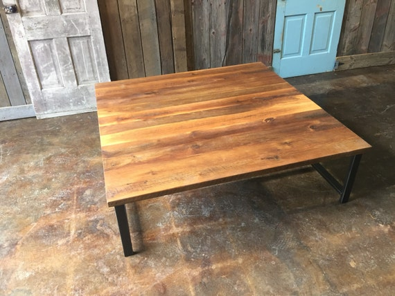 Large Square Reclaimed Wood Coffee Table Industrial H Shaped Metal Legs
