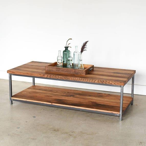 Box Frame Coffee Table Lower Storage Shelf Reclaimed Wood Etsy