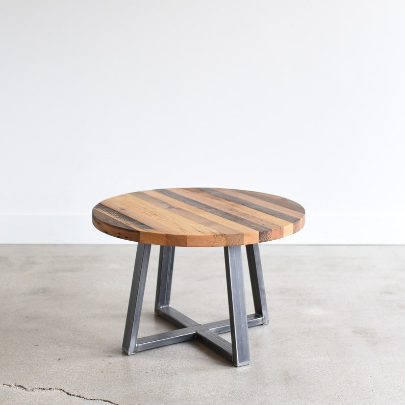 Round Coffee Table Reclaimed Wood Butcher Block Cocktail Etsy