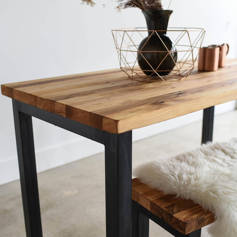 Modern Industrial Dining Table Steel Post Legs Butcher Block Kitchen Table