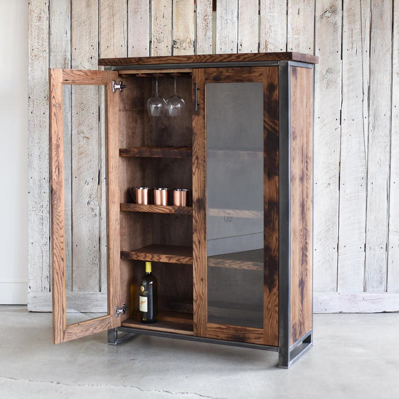 Cool Reclaimed Wood Glass Double Door Cabinet Bar Storage Cabinet China Cabinet Interior Design Ideas Apansoteloinfo