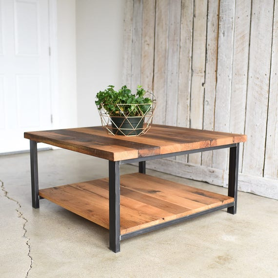 Square Oak Coffee Table Rustic Reclaimed Wood And Steel Coffee Table