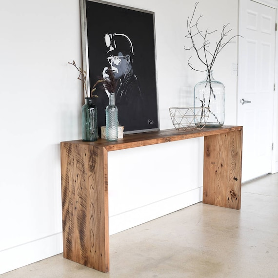 new concept 83302 68399 Reclaimed Wood Console Table / Modern Plank Entryway Table