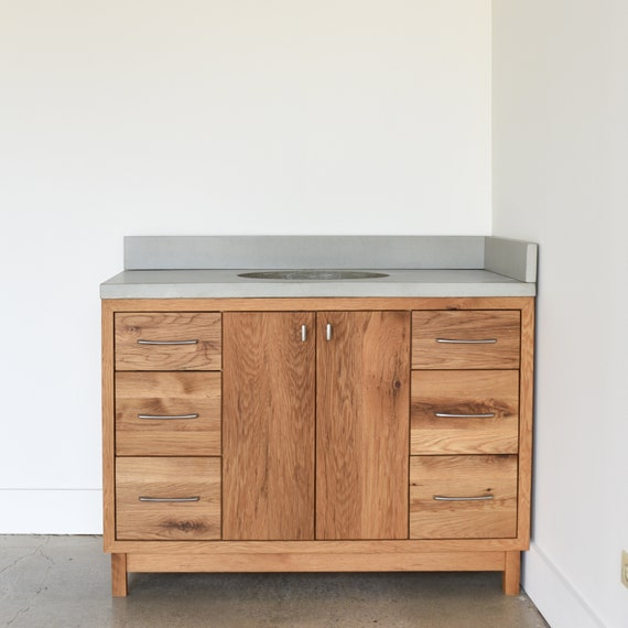 Solid Wood Bathroom Vanity 48 Mid Century Modern Etsy