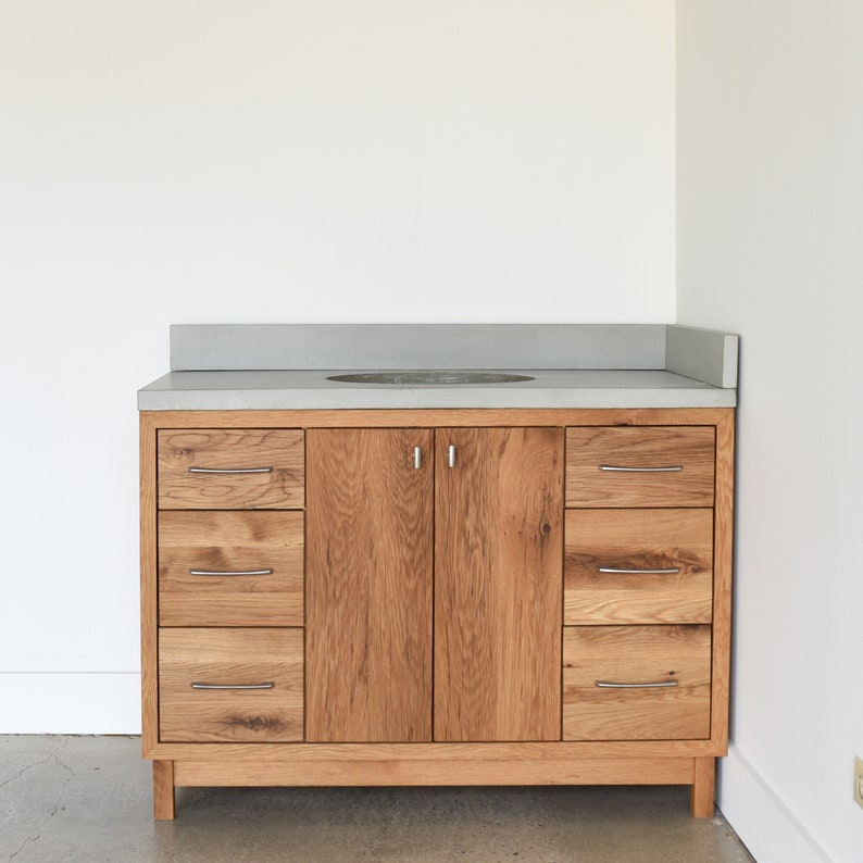 Tremendous Solid Wood Bathroom Vanity 48 Mid Century Modern Vanity Made From Reclaimed Barn Wood Single Sink Console Home Remodeling Inspirations Genioncuboardxyz