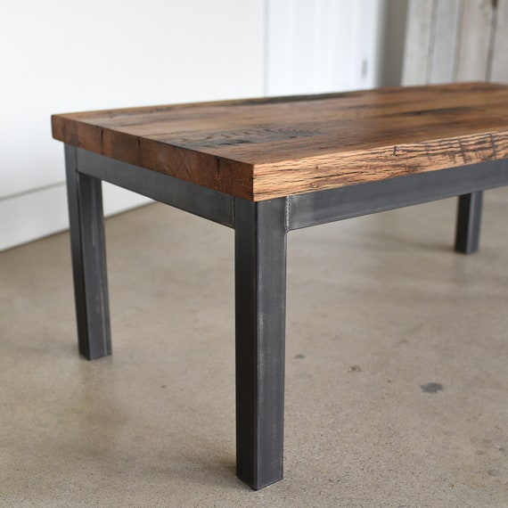 Industrial Steel Frame Coffee Table 2 Reclaimed Chunky Etsy