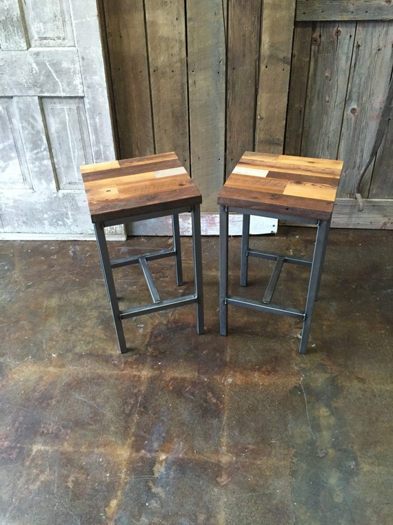 Terrific Reclaimed Wood Patchwork Barn Wood Bar Stools Industrial Stool Hand Welded Steel Base And Eco Friendly Finish Set Of Two Evergreenethics Interior Chair Design Evergreenethicsorg