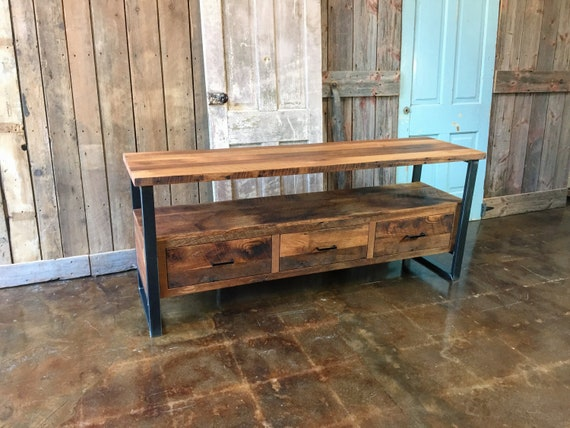 Reclaimed Wood Media Console Industrial Tv Stand 3 Drawer Etsy