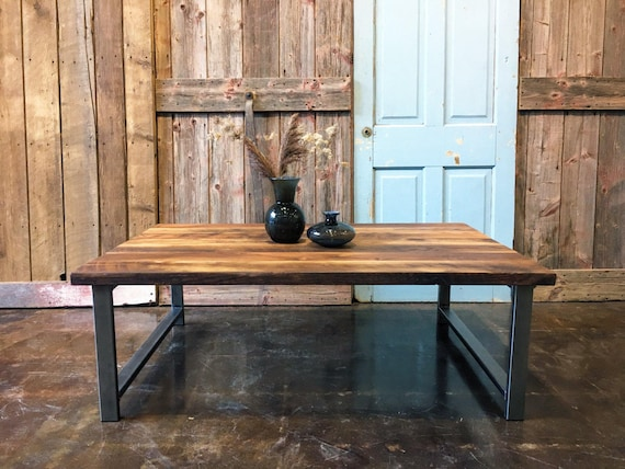 Industrial Reclaimed Wood Coffee Table H Shaped Steel Legs Etsy