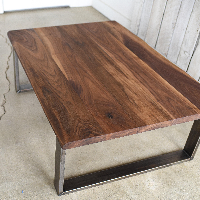 Walnut Coffee Table.Walnut Coffee Table Industrial Steel Legs Live Edge Coffee Table