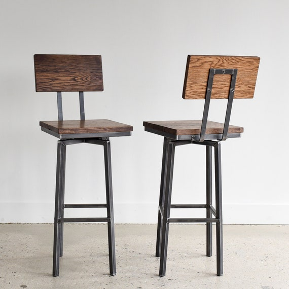 Admirable Rustic Reclaimed Wood Bar Stool Industrial Swivel Stool Bralicious Painted Fabric Chair Ideas Braliciousco