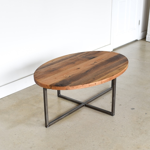 Oval Reclaimed Wood Coffee Table Industrial Steel Criss Etsy