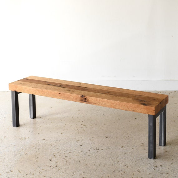 Awesome Industrial Dining Bench 3 Reclaimed Wood And Metal Leg Bench Spiritservingveterans Wood Chair Design Ideas Spiritservingveteransorg