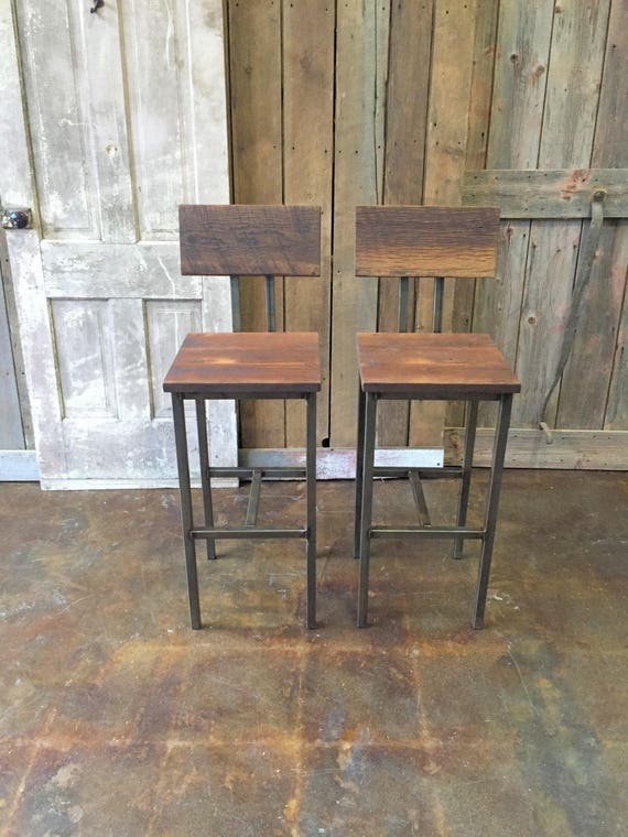 Groovy Reclaimed Wood Bar Stools Industrial Stool Reclaimed Barn Wood Stool With Hand Welded Steel Base And Eco Friendly Finish Set Of 2 Bralicious Painted Fabric Chair Ideas Braliciousco