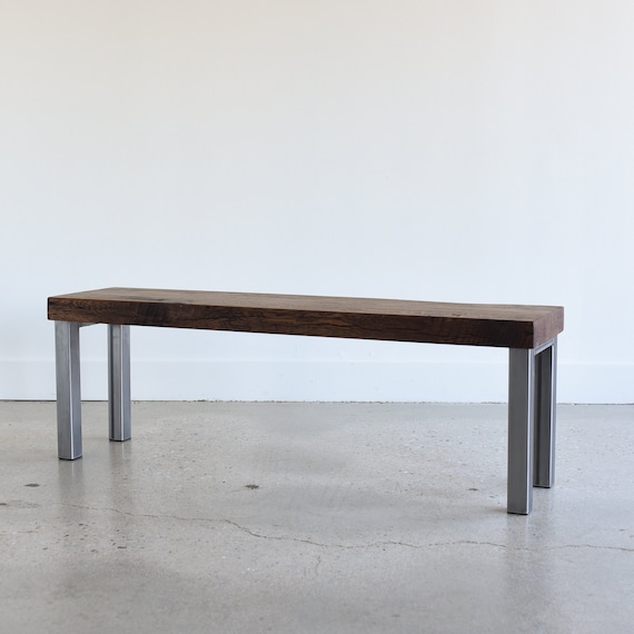 Industrial Dining Bench 2 Reclaimed Wood And Metal Leg Etsy