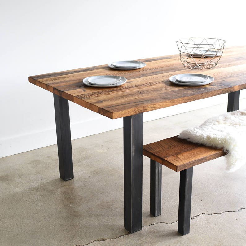 Reclaimed Wood Dining Table / Industrial Post Metal Legs / Farmhouse  Kitchen Table
