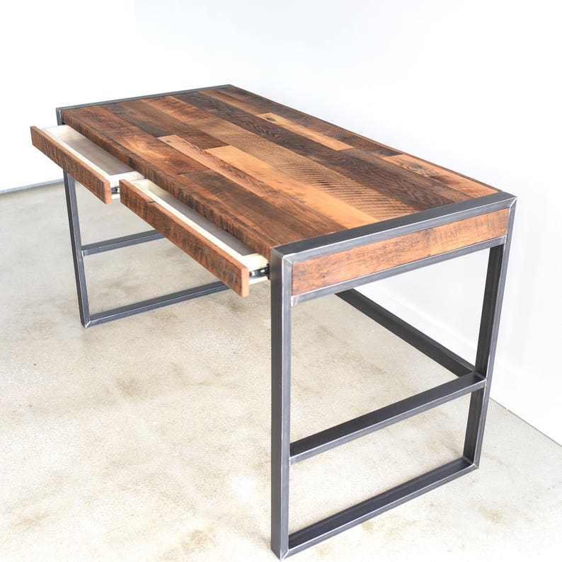 Delicieux Rustic Office Desk / Industrial Patchwork Desk Made From Reclaimed Wood