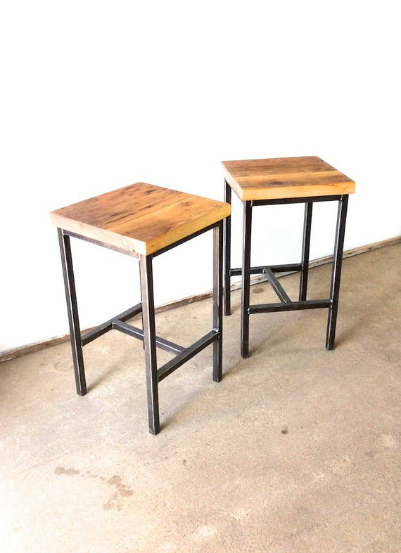 Stupendous Reclaimed Wood Bar Stools Backless Pine Wood With Hand Welded Steel Frame Set Of Two Bralicious Painted Fabric Chair Ideas Braliciousco