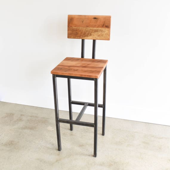 Phenomenal Reclaimed Wood Bar Stool With Hand Welded Steel Base Caraccident5 Cool Chair Designs And Ideas Caraccident5Info