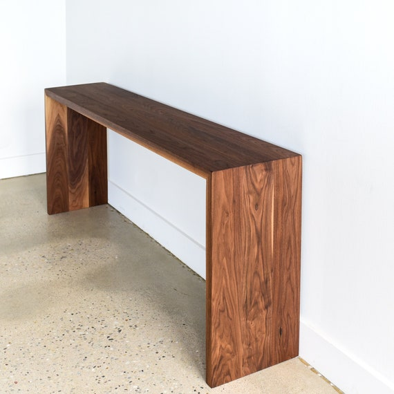 Modern Console Table Handmade Walnut Entryway Table Etsy