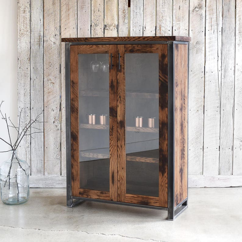Industrial Bar Storage Cabinet Tall Double Door Glass Hutch